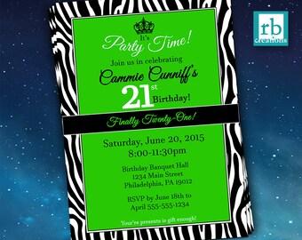 21st Birthday Invitation, Zebra Invitations, Zebra Party, Twenty-one, Zebra Print Invitation, 21st Birthday Party - Digital Printables