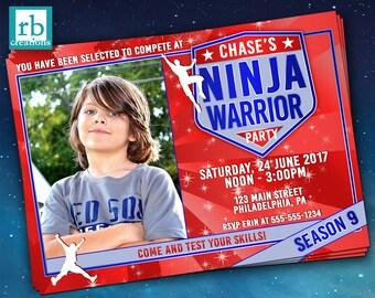 Photo Ninja Warrior Party Invitation, Ninja Warrior Invitations, ANW Party, Ninja Warrior Photo Invitation - Digital Printables