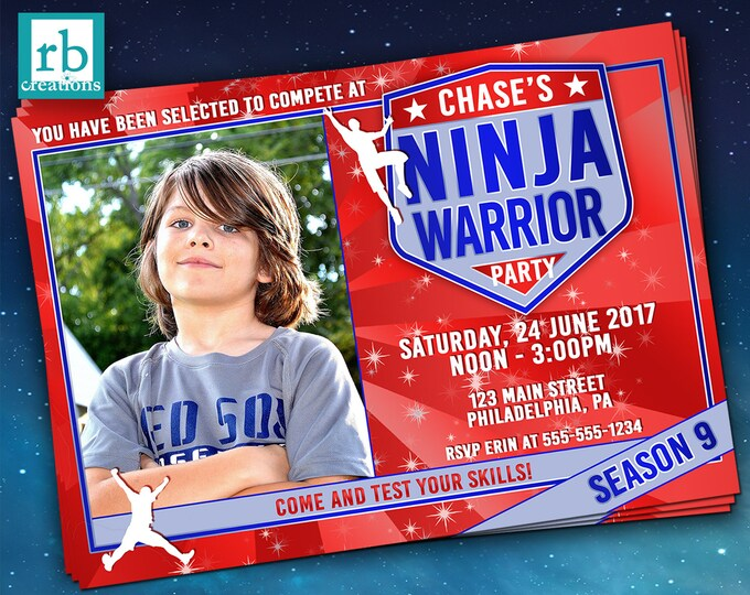 Photo Ninja Warrior Party Invitation, Ninja Warrior Invitations, ANW Party, Ninja Warrior Photo Invitation - Digital Printables
