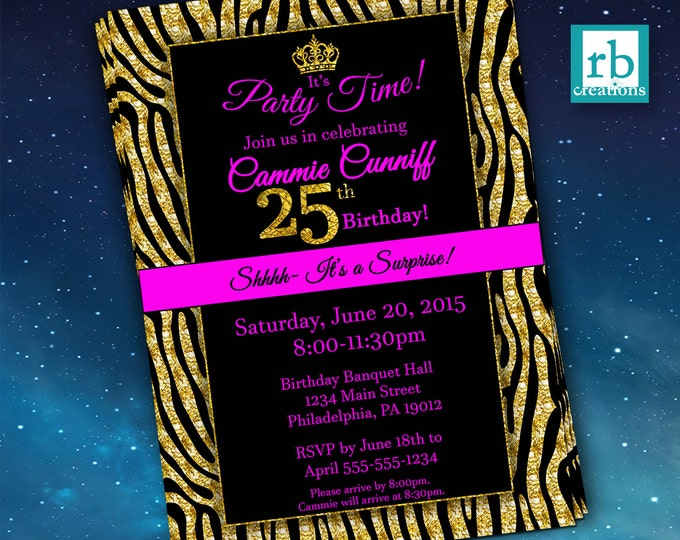 Surprise Party Invitations, Glitter Invitation, Zebra Party, Surprise Invitation, Gold Invitation, Zebra Invitation - Digital Printables