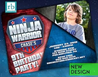 PRINTED Ninja Warrior Invitation, Photo Ninja Warrior Junior Party, Ninja Warrior Birthday Party - Printed Party Invitations with envelopes