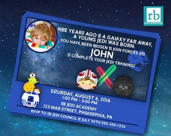 Star Wars Invitation, Tsum Tsum Invitation, Star Wars Tsum Tsum Party Invitation, Jedi Party, Darth Vader, R2D2, BB8 - Digital Printables