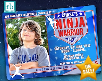 Ninja Warrior Invitations, Photo Ninja Warrior Party, ANW Party, Ninja Warrior Photo Invitation - Digital Printables