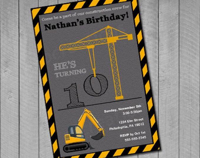 Construction Birthday Invitations, Construction Birthday Printables, Crane Invitation, Truck Birthday, Construction Party, Digital Printable