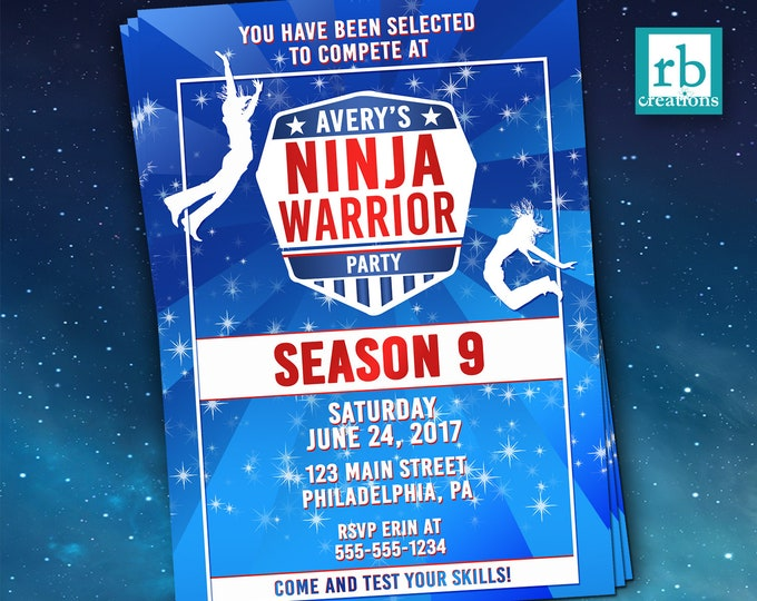 PRINTED Girls Ninja Warrior Invitation, Ninja Warrior Party, Ninja Warrior Birthday Party - Printed Party Invitations with envelopes