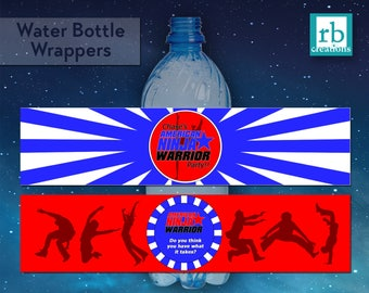 PRINTED Ninja Warrior Party Water Bottle Wrapper, Ninja Warrior Birthday Party, ANW Party - Printed Party Decorations
