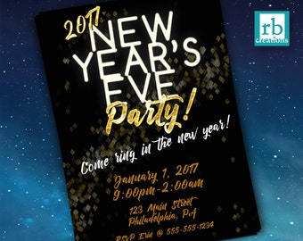 New Years Eve Party Invitations, New Years Eve Invitations, New Years Eve Card, Holiday Party, New Years Digital - Digital Printable