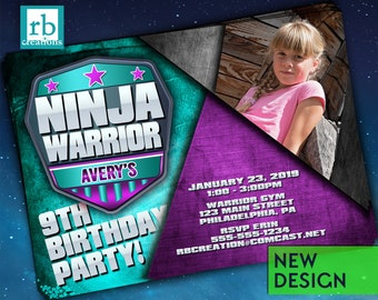 Ninja Warrior Girl Invitations, Photo Ninja Warrior Party, Ninja Warrior Junior Party, Ninja Warrior Birthday Girl - Digital Printables