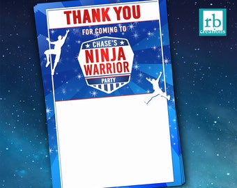 Ninja Warrior Party, Ninja Warrior Thank You, ANW Birthday Party, Ninja Warrior Thank You Note - Digital Printables