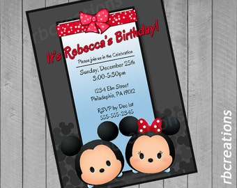Tsum Tsum Birthday Invitation, Tsum Tsum Party, Tsum Tsum Invitation, Tsum Tsum Printables, Minnie Mouse, MIckey Mouse - Digital Printable