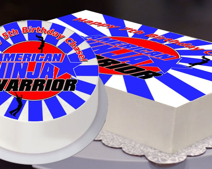 Ninja Warrior Party Edible Cake Topper, Ninja Warrior Birthday, Ninja Warrior Party -  Digital Files