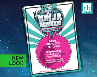 Girl Ninja Warrior Invitation, Ninja Warrior Girl Party, Girls Ninja Party, Ninja Warrior Birthday Party - Digital Printables