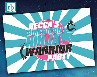 Printed Ninja Warrior Party Poster, Ninja Warrior Birthday, Ninja Warrior Custom Poster - Printed Photo Poster