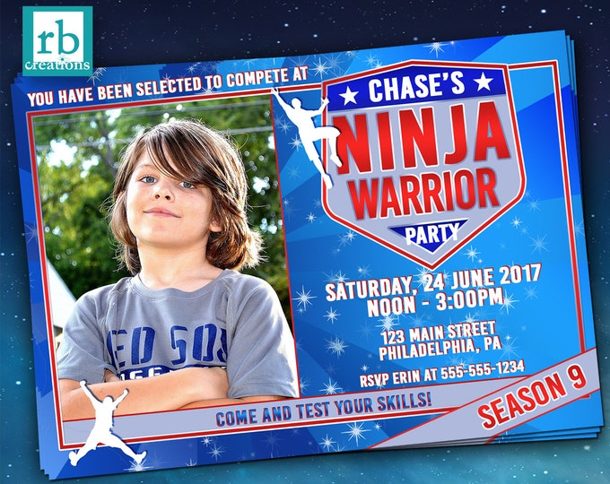 Ninja Warrior Invitations, Photo Ninja Warrior Party, ANW Party, Ninja Warrior Photo Invitation - Digital Printables
