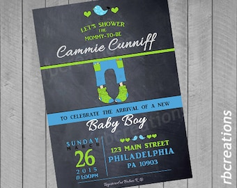 Chalk Baby Shower Invitation, Baby Shower Invites, Baby Shower Invitation Boy, Baby Shower Decorations - Digital Printable