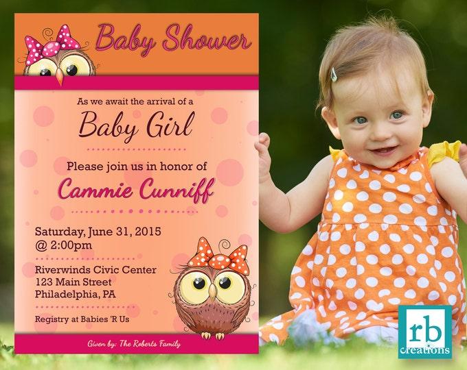 Owl Baby Shower Invitation, Baby Shower Invites, Baby Shower Invitation Girl, Baby Shower Decorations, Owl Invitation - Digital Printable