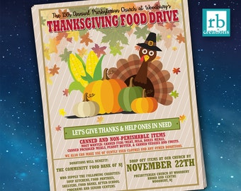 Event Flyer, Food Drive Flyer, Thanksgiving Flyer, Autumn flyer, School Flyer Design, Church Flyer Design, Flyer Design - Digital Printables