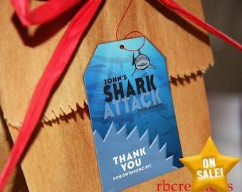 Shark Party Favor Tags, Shark Birthday Invitation, Pool Party, Shark Attack Party, Shark Party, Shark Pool Party - Digital Printable