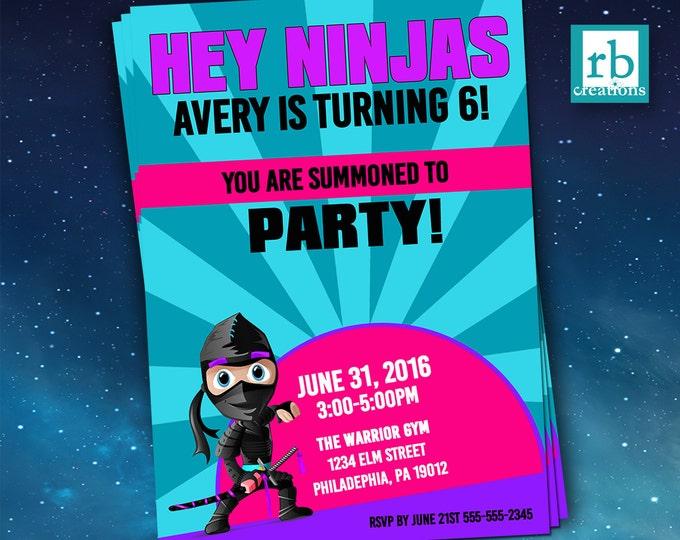 Ninja Invitation, Ninja Warrior Invitations, Ninja Birthday, Girls Ninja Party Invitations, Martial Arts Invitations - Digital Printables