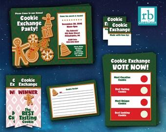 Cookie Exchange Party Package, Cookie Exchange Kit, Cookie Exchange Printables, Cookie Exchange Invitation - Digital Printable