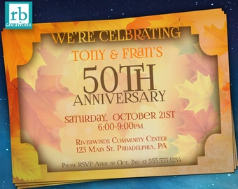 Autumn Anniversary Invitation, Anniversary Party, Anniversary Party Invitation, 50th Anniversay Invitation, Fall Party - Digital Printables