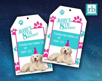 Puppy Party Favor Tags, Puppy Birthday, Puppy Party Printables, Dog Party Favor Tags, Party Animal - Digital Printables