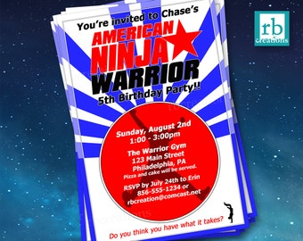 Ninja Warrior Invitations, Ninja Warrior Party, Ninja Birthday, Ninja Party, Ninja Warrior Invitation - Digital Printables