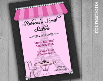Sweet Sixteen Party Invitations, Paris Party, Paris Sweet Sixteen Invitation, Paris Birthday, Paris Sweet Sixteen Party - Digital Printables