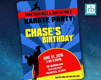 Karate Birthday Invitations, Boy Karate Invitation, Karate Invitation, Martial Arts Party, Martial Arts Birthday - Digital Printables