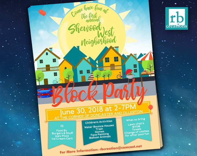 Block Party Flyer, Summer Flyer, Pool Party Flyer, BBQ Flyer, Neighborhood Party Flyer, 8.5x11 Flyer Design - Digital Printables