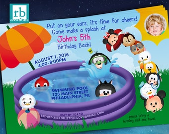 Pool Party Invitation, Mickey Mouse Clubhouse, Photo Pool Party Birthday Invitation, Swim Birthday, Tsum Tsum Invitation - Digital Printable