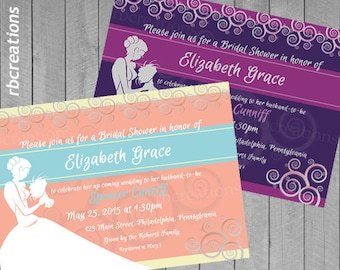 Bridal Shower Invitations, Bridal Shower Invite, Wedding Shower Invitation, Bridal Invitations,  Digital Printables
