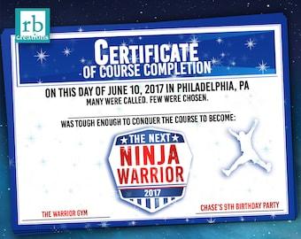 Ninja Warrior Party Favor Certificate, Ninja Warrior Birthday, ANW Birthday Party, Ninja Warrior Favor - Digital Printable