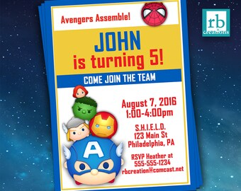 Avenger Invitation, Tsum Tsum Invitation, Avenger Tsum Tsum Party Invitation, Marvel Invitation, Avenger Party, Marvel - Digital Printables