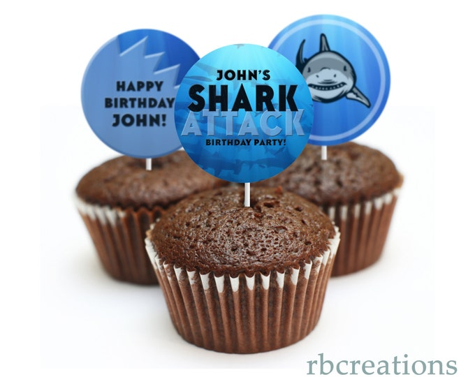 Shark Party Cupcake Toppers, Shark Birthday Invitation, Pool Party, Shark Attack Party, Shark Party, Shark Pool Party - Digital Printable