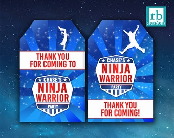 PRINTED Ninja Warrior Party Favor Tags, Ninja Warrior Birthday Party, Ninja Party - Printed Party Decorations