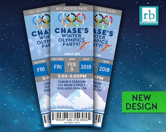PRINTED Olympics Party Invitations, Winter Olympics Ticket Invitation, Winter Olympics Birthday Party - Printed Invitations w/ Envelopes