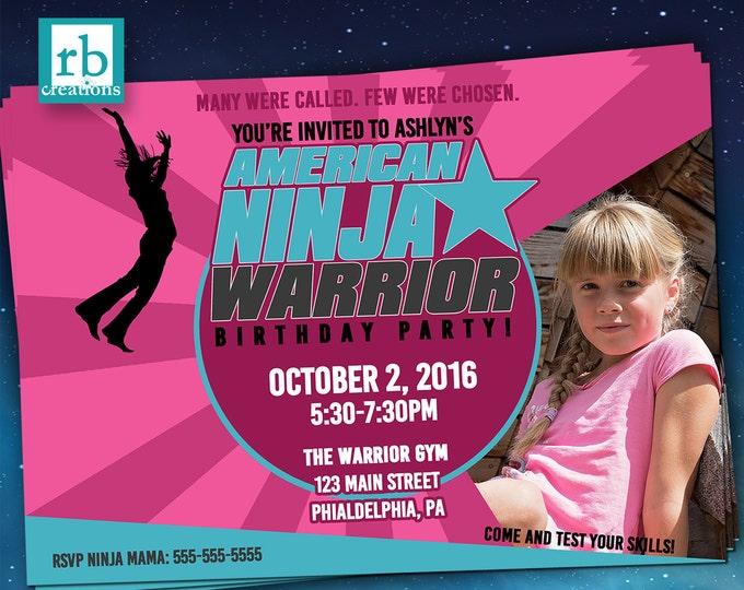 Ninja Warrior Invitations, Girl Ninja Warrior Party, ANW Party, Ninja Warrior Photo Invitation - Digital Printables