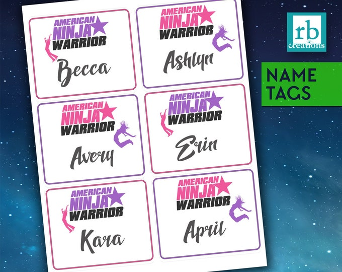 Ninja Warrior Party, Nametag Stickers, ANW Nametags, Ninja Warrior Stickers, Ninja Birthday Party, Custom Printables