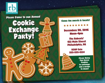 Cookie Exchange Invitation, Christmas Party Invitation, Cookie Exchange Invite, Holiday Invitation, Holiday Cookie Party - Digital Printable