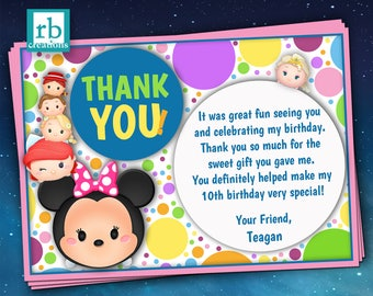 Tsum Tsum Party, Birthday Thank You Notes, Tsum Tsum Birthday, Tsum Tsum Printables - Digital Printable