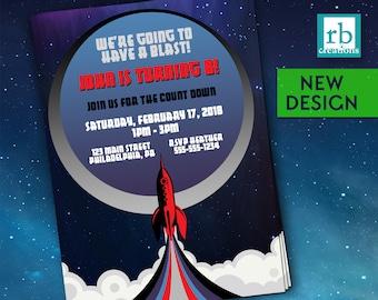 Rocket Birthday Invitation, Space Rocket Invitation, Space Birthday, Outer Space Rocket Party, Astronaut Birthday Invite - Digital Printable