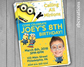 PRINTED Minion Photo Invitation, Despicable Me Minion Birthday Party Invitation - Printed Invitations w/ Envelopes