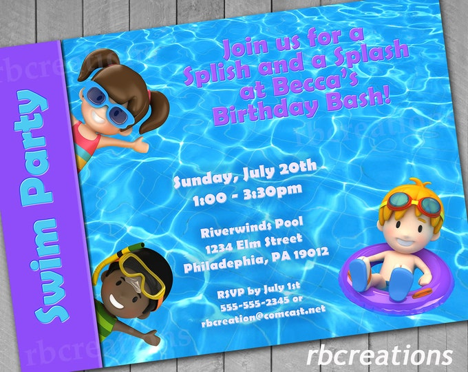 Pool Party Birthday Invitations, Pool Party Invitations, End of Summer Party, Swim Party Invitations, Pool Party Invite - Digital Printables