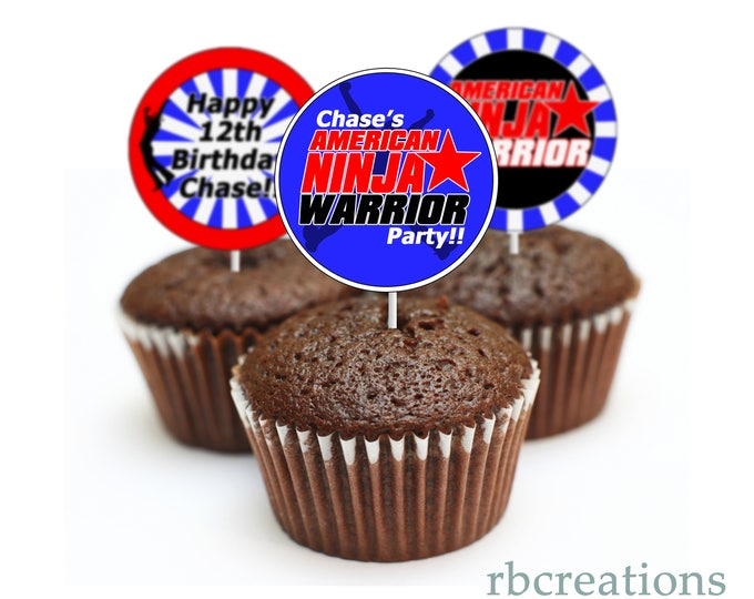 PRINTED Ninja Warrior Party Cupcake Toppers, Ninja Warrior Birthday Party, ANW Party - Printed Party Decorations