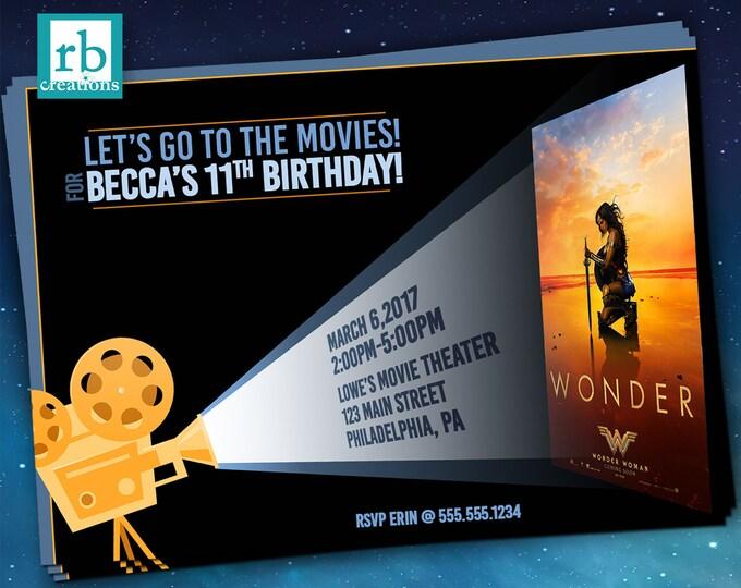 Wonder Woman Movie Party Invitations, Movie Invitation, Movie Poster Invitation, Movie Invite, Movie Night Party - Digital Printables