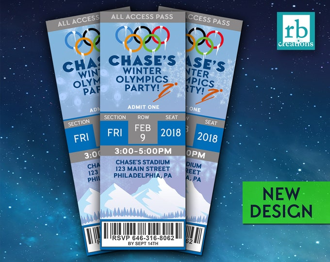 Olympics Party Invitations, Winter Olympics Ticket Invitation, Winter Olympics Birthday Party, Olympics Ticket - Digital Printable