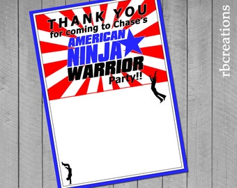 Ninja Warrior Party, Ninja Warrior Thank You Note, ANW Birthday Party, Ninja Warrior Thank You - Digital Printables