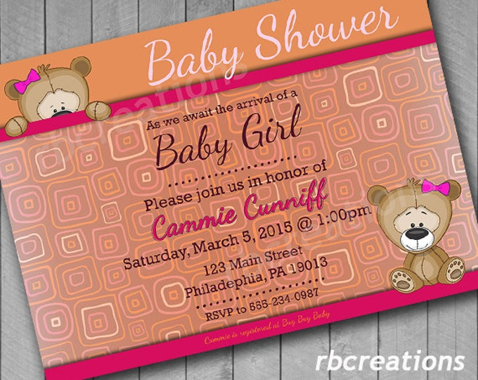 Bear Baby Shower Invitation, Baby Shower Invites, Baby Shower Invitation Girl, Baby Shower Decorations - Digital Printable