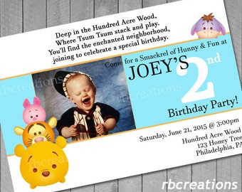 Pooh Tsum Tsum Birthday Invitations, Winnie the Pooh Birthday Invitations, Tsum Tsum Photo Invitation, Tsum Tsum  Party, Digital Printables